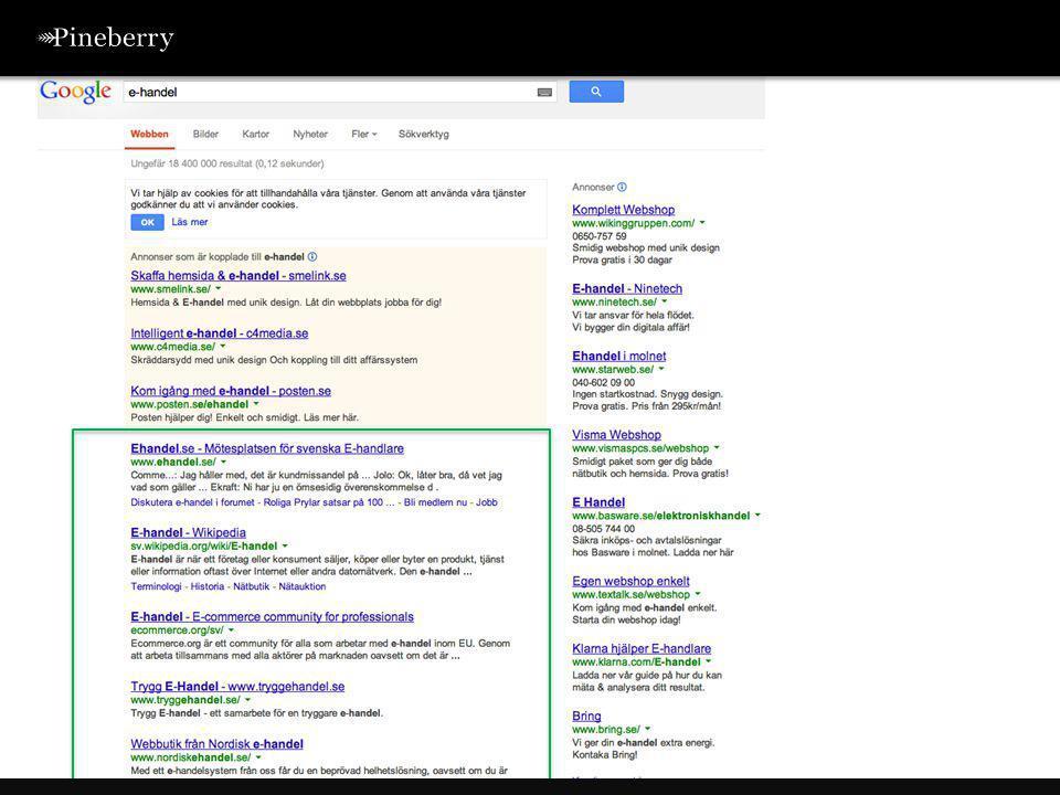 Googles sökalgoritm uppdateras upp till 500 gånger per år •Fritz (Sommaren 2003) •Florida (November 2003) •Austin Update (Januari 2004) •The Sandbox (April 2004) •Bourbon (Maj 2005) •Big Daddy (Oktober 2005) •Supplemental (Januari 2007) •Paid Links (Oktober 2007) •Dewey Update (Mars 2008) •Vince / Brand (Mars 2009) •May Day (Maj 2010) •Caffeine (Juni 2010) •Scraper Filter (Januari 2011) •Panda (Februari 2011) •Penguin (April 2012) •Panda/Penguin i nya versioner (2013) •Hummingbird (2013) Hur fungerar Google?
