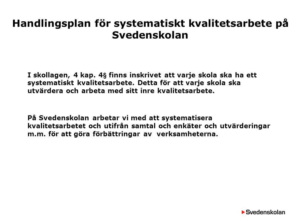 Kvalitetsdeklaration Svedenskolan Systematiskt kvalitetsarbete på Svedenskolan är ett långsiktigt arbete i syfte att ständigt arbeta med förbättringar av verksamheten.