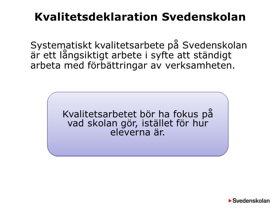 Kvalitetsdeklaration Svedenskolan Systematiskt kvalitetsarbete på Svedenskolan är ett långsiktigt arbete i syfte att ständigt arbeta med förbättringar
