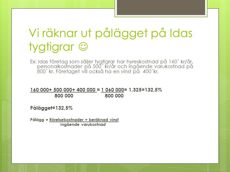 Vi räknar ut pålägget på Idas tygtigrar  Ex: Idas företag som säljer tygtigrar har hyreskostnad på 160´ kr/år, personalkostnader på 500´ kr/år och in