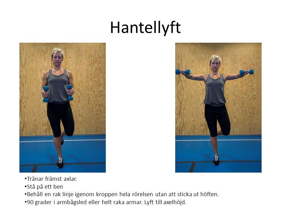 Hantellyft • Tränar främst axlar. • Stå på ett ben • Behåll en rak linje igenom kroppen hela rörelsen utan att sticka ut höften. • 90 grader i armbågs