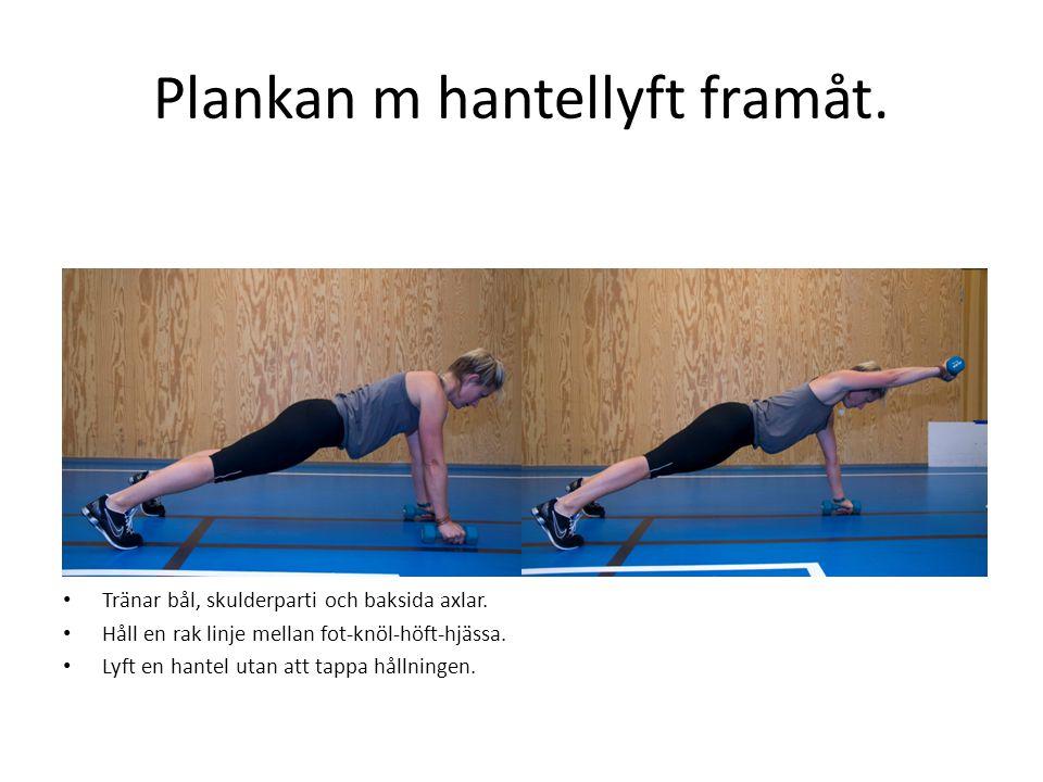 Plankan m hantellyft framåt. • Tränar bål, skulderparti och baksida axlar. • Håll en rak linje mellan fot-knöl-höft-hjässa. • Lyft en hantel utan att