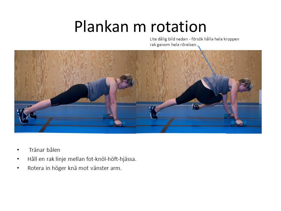 Plankan m rotation • Tränar bålen • Håll en rak linje mellan fot-knöl-höft-hjässa. • Rotera in höger knä mot vänster arm. Lite dålig bild nedan - förs