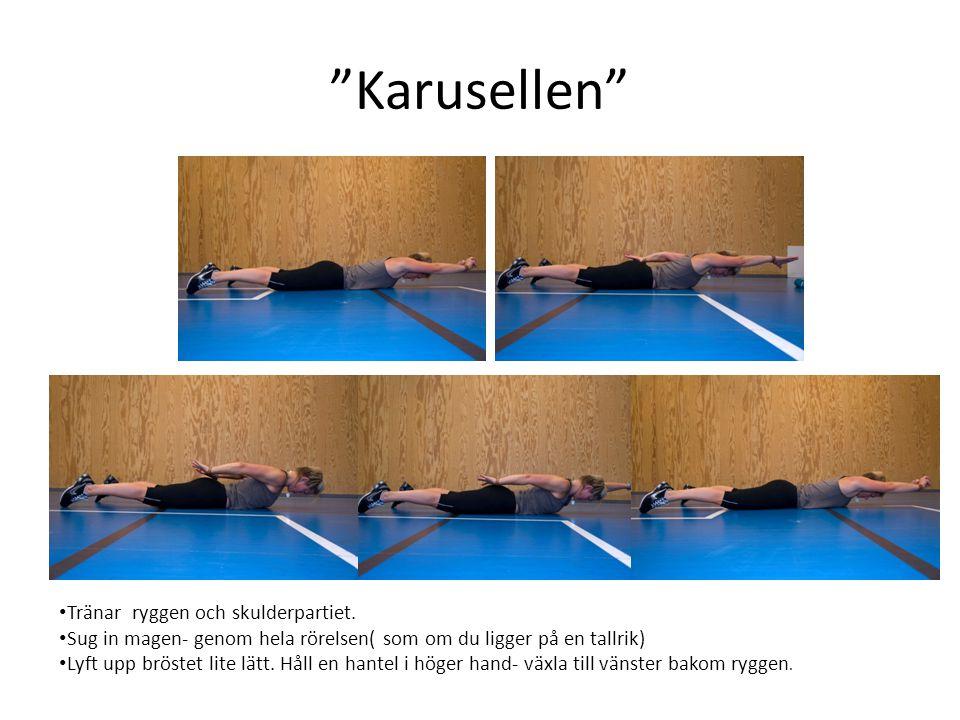 """""""Karusellen"""" • Tränar ryggen och skulderpartiet. • Sug in magen- genom hela rörelsen( som om du ligger på en tallrik) • Lyft upp bröstet lite lätt. Hå"""