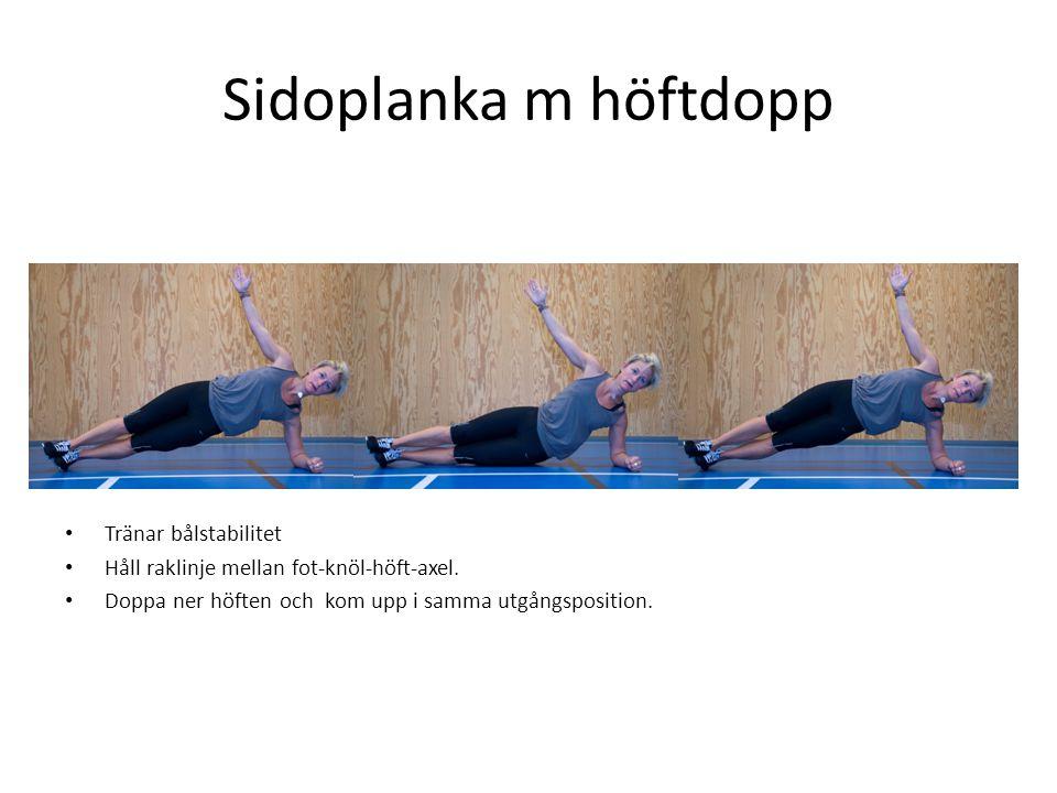 Sidoplanka m höftdopp • Tränar bålstabilitet • Håll raklinje mellan fot-knöl-höft-axel. • Doppa ner höften och kom upp i samma utgångsposition.