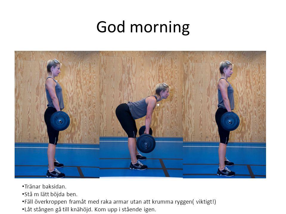 God morning • Tränar baksidan. • Stå m lätt böjda ben. • Fäll överkroppen framåt med raka armar utan att krumma ryggen( viktigt!) • Låt stången gå til