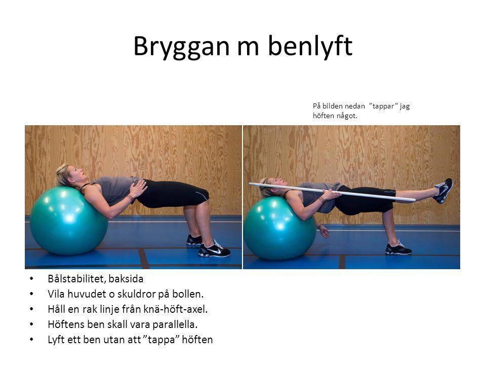 Bryggan m benlyft • Bålstabilitet, baksida • Vila huvudet o skuldror på bollen. • Håll en rak linje från knä-höft-axel. • Höftens ben skall vara paral