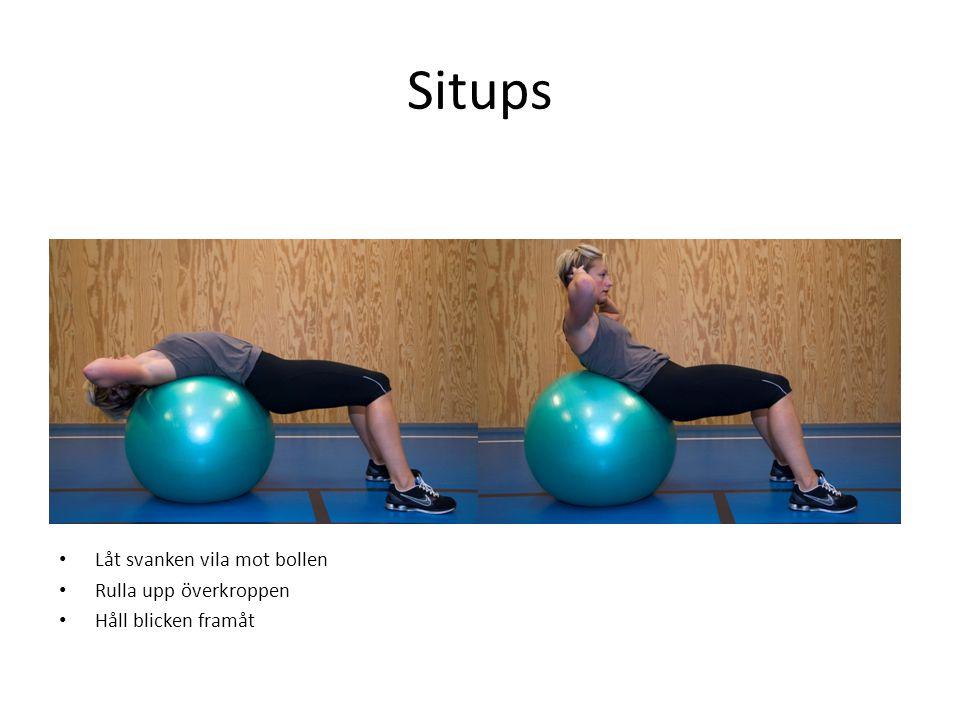 Situps • Låt svanken vila mot bollen • Rulla upp överkroppen • Håll blicken framåt