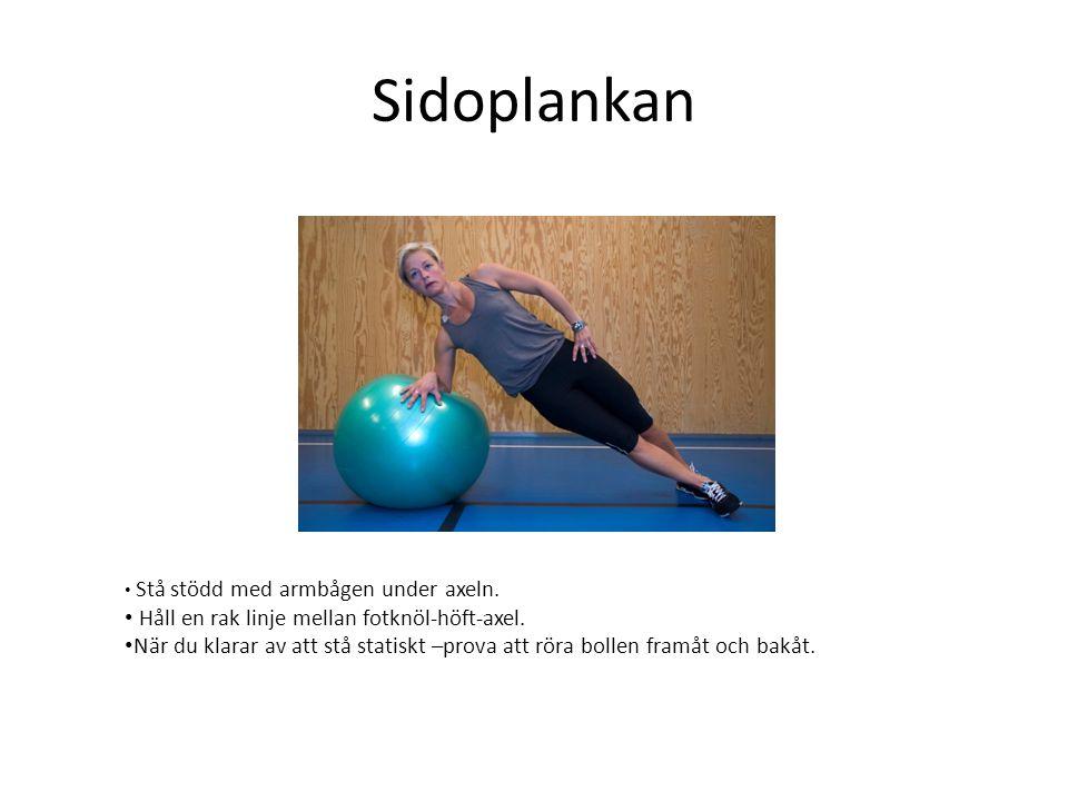 Sidoplankan • Stå stödd med armbågen under axeln. • Håll en rak linje mellan fotknöl-höft-axel. • När du klarar av att stå statiskt –prova att röra bo