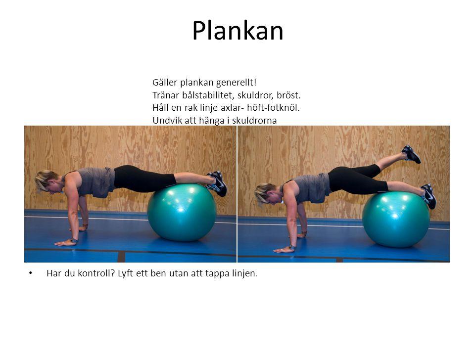 Plankan • Har du kontroll? Lyft ett ben utan att tappa linjen. Gäller plankan generellt! Tränar bålstabilitet, skuldror, bröst. Håll en rak linje axla