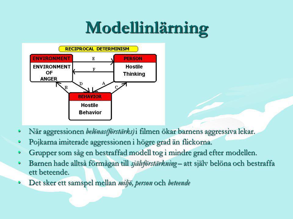 Modellinlärning •När aggressionen belönas(förstärks) i filmen ökar barnens aggressiva lekar.