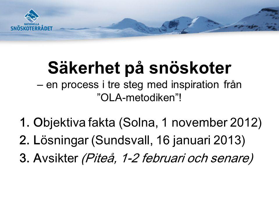 """Säkerhet på snöskoter – en process i tre steg med inspiration från """"OLA-metodiken""""! 1.Objektiva fakta (Solna, 1 november 2012) 2.Lösningar (Sundsvall,"""