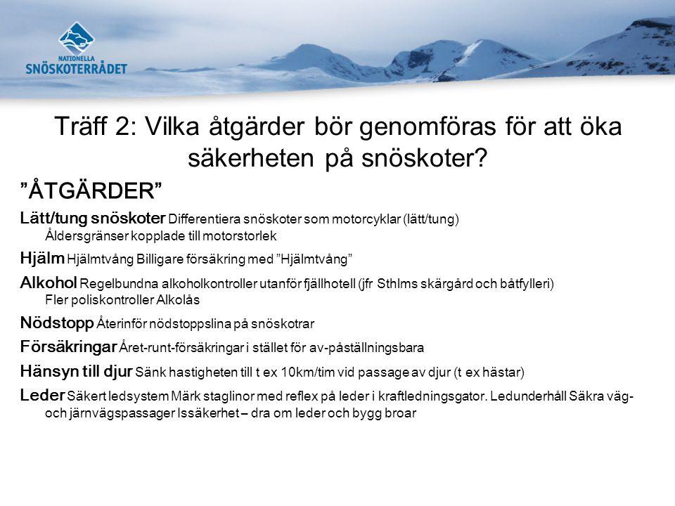 Träff 2: Vilka åtgärder bör genomföras för att öka säkerheten på snöskoter.