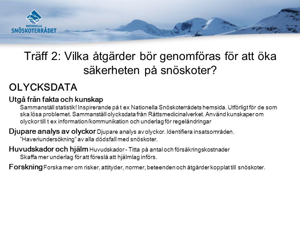 Träff 2: Vilka åtgärder bör genomföras för att öka säkerheten på snöskoter? OLYCKSDATA Utgå från fakta och kunskap Sammanställ statistik! Inspirerande