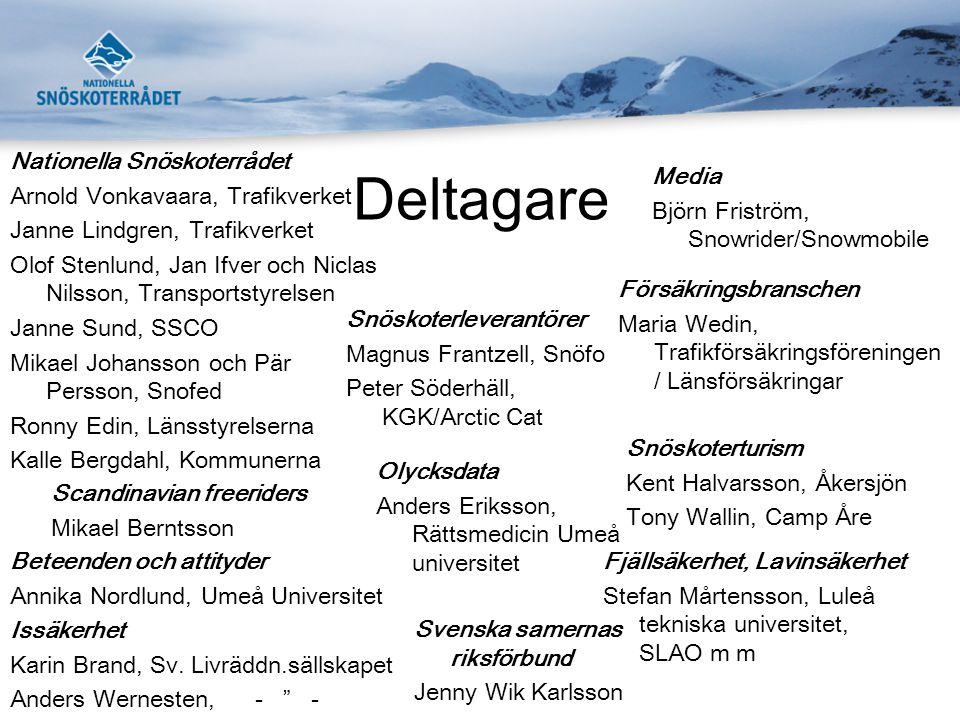 Träff 1 •Upplägg av Säkerhet på snöskoter (Janne) •Presentation av Nationella Snöskoterrådet (Janne) •Olycksstatistik (Anders Eriksson och Pär Persson) •Fjällsäkerhet och laviner (Stefan Mårtensson)