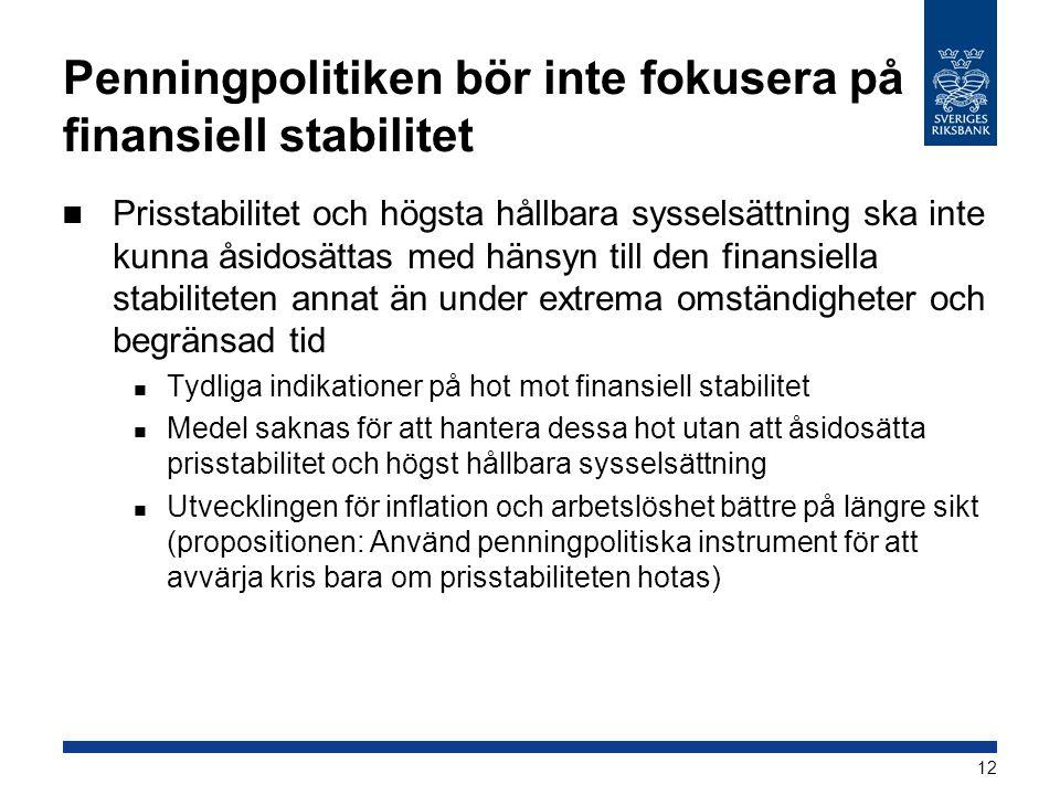 Penningpolitiken bör inte fokusera på finansiell stabilitet  Prisstabilitet och högsta hållbara sysselsättning ska inte kunna åsidosättas med hänsyn till den finansiella stabiliteten annat än under extrema omständigheter och begränsad tid  Tydliga indikationer på hot mot finansiell stabilitet  Medel saknas för att hantera dessa hot utan att åsidosätta prisstabilitet och högst hållbara sysselsättning  Utvecklingen för inflation och arbetslöshet bättre på längre sikt (propositionen: Använd penningpolitiska instrument för att avvärja kris bara om prisstabiliteten hotas) 12