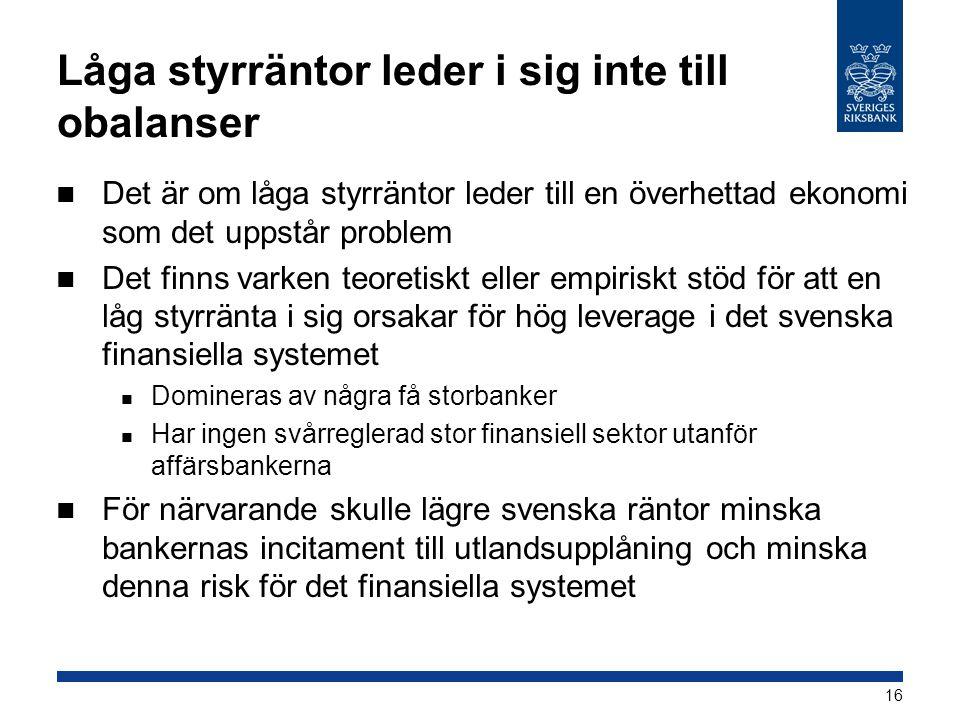 Låga styrräntor leder i sig inte till obalanser  Det är om låga styrräntor leder till en överhettad ekonomi som det uppstår problem  Det finns varken teoretiskt eller empiriskt stöd för att en låg styrränta i sig orsakar för hög leverage i det svenska finansiella systemet  Domineras av några få storbanker  Har ingen svårreglerad stor finansiell sektor utanför affärsbankerna  För närvarande skulle lägre svenska räntor minska bankernas incitament till utlandsupplåning och minska denna risk för det finansiella systemet 16