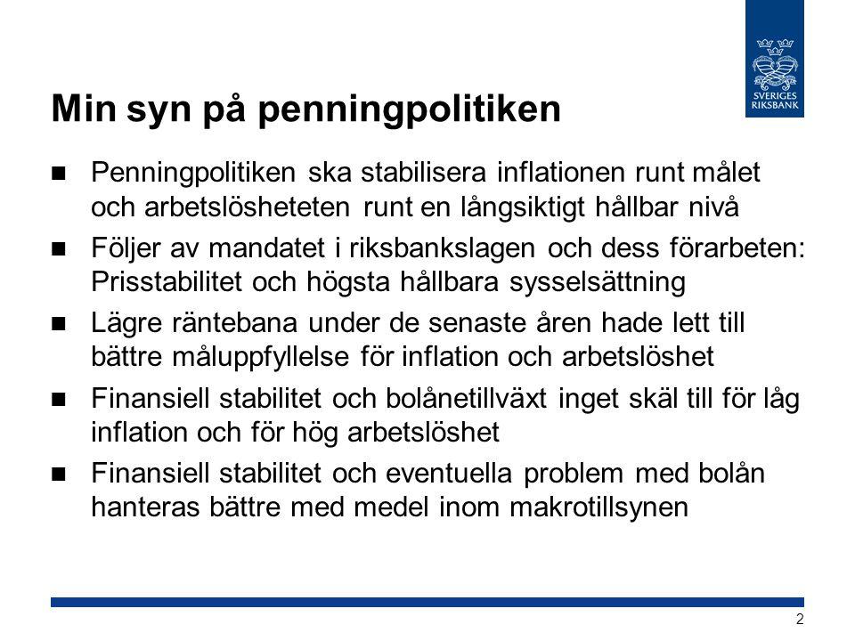 Min syn på penningpolitiken  Penningpolitiken ska stabilisera inflationen runt målet och arbetslösheteten runt en långsiktigt hållbar nivå  Följer a