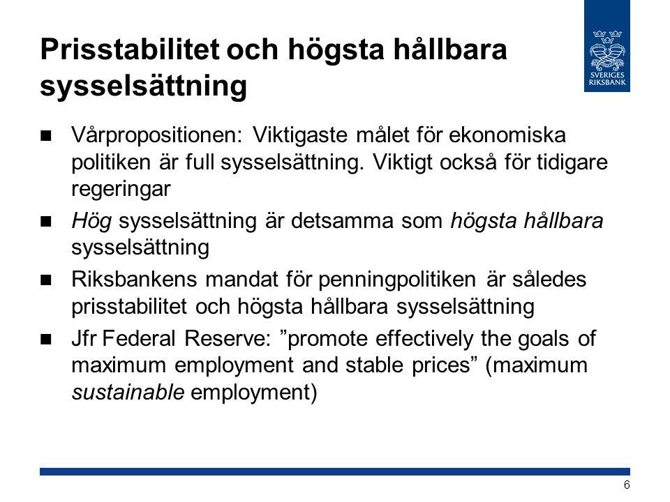 Prisstabilitet och högsta hållbara sysselsättning  Vårpropositionen: Viktigaste målet för ekonomiska politiken är full sysselsättning. Viktigt också