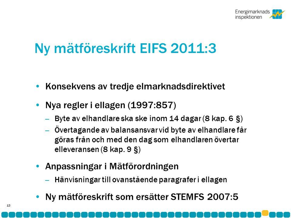 Ny mätföreskrift EIFS 2011:3 •Konsekvens av tredje elmarknadsdirektivet •Nya regler i ellagen (1997:857) – Byte av elhandlare ska ske inom 14 dagar (8