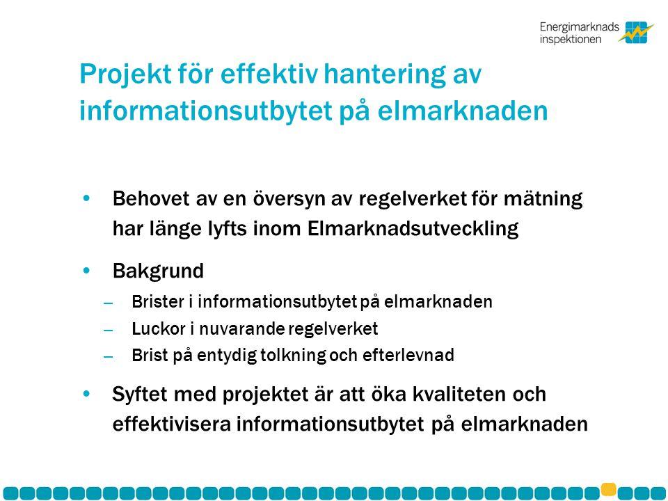 Projektorganisation •Projektet ägs och projektleds av EI •Projektgruppen består av representanter från EI, Svenska Kraftnät Svensk Energi och Oberoende elhandlare •Intern styrgrupp på EI •Extern referensgrupp består av beslutsgruppen i Elmarknadsutveckling