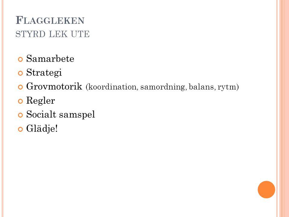 F LAGGLEKEN STYRD LEK UTE Samarbete Strategi Grovmotorik (koordination, samordning, balans, rytm) Regler Socialt samspel Glädje!