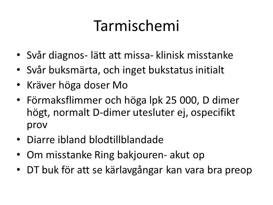 Tarmischemi • Svår diagnos- lätt att missa- klinisk misstanke • Svår buksmärta, och inget bukstatus initialt • Kräver höga doser Mo • Förmaksflimmer och höga lpk 25 000, D dimer högt, normalt D-dimer utesluter ej, ospecifikt prov • Diarre ibland blodtillblandade • Om misstanke Ring bakjouren- akut op • DT buk för att se kärlavgångar kan vara bra preop