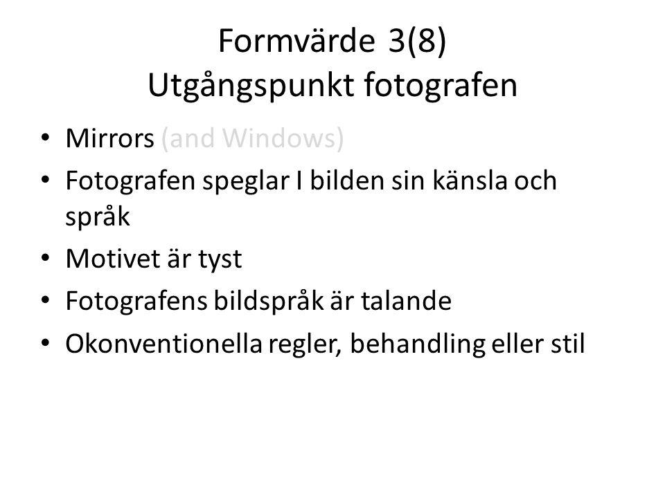 Formvärde 3(8) Utgångspunkt fotografen • Mirrors (and Windows) • Fotografen speglar I bilden sin känsla och språk • Motivet är tyst • Fotografens bild