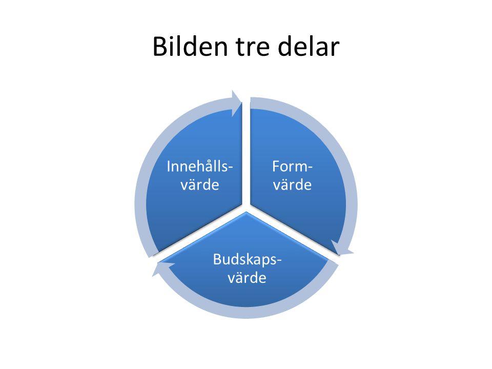 Bilden tre delar Form- värde Budskaps- värde Innehålls- värde