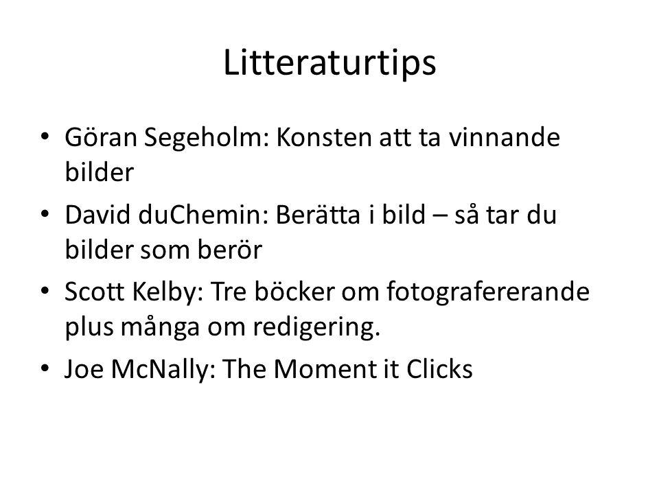 Litteraturtips • Göran Segeholm: Konsten att ta vinnande bilder • David duChemin: Berätta i bild – så tar du bilder som berör • Scott Kelby: Tre böcke