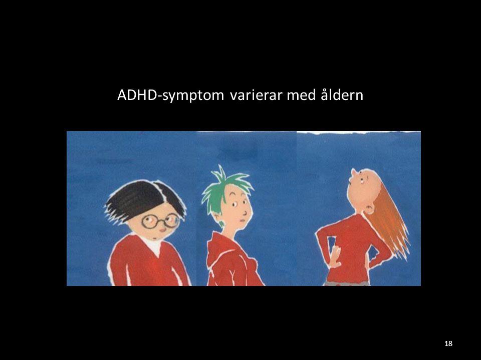 ADHD-symptom varierar med åldern 18