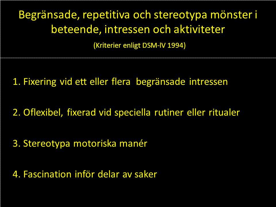 Begränsade, repetitiva och stereotypa mönster i beteende, intressen och aktiviteter (Kriterier enligt DSM-lV 1994) 1. Fixering vid ett eller flera beg
