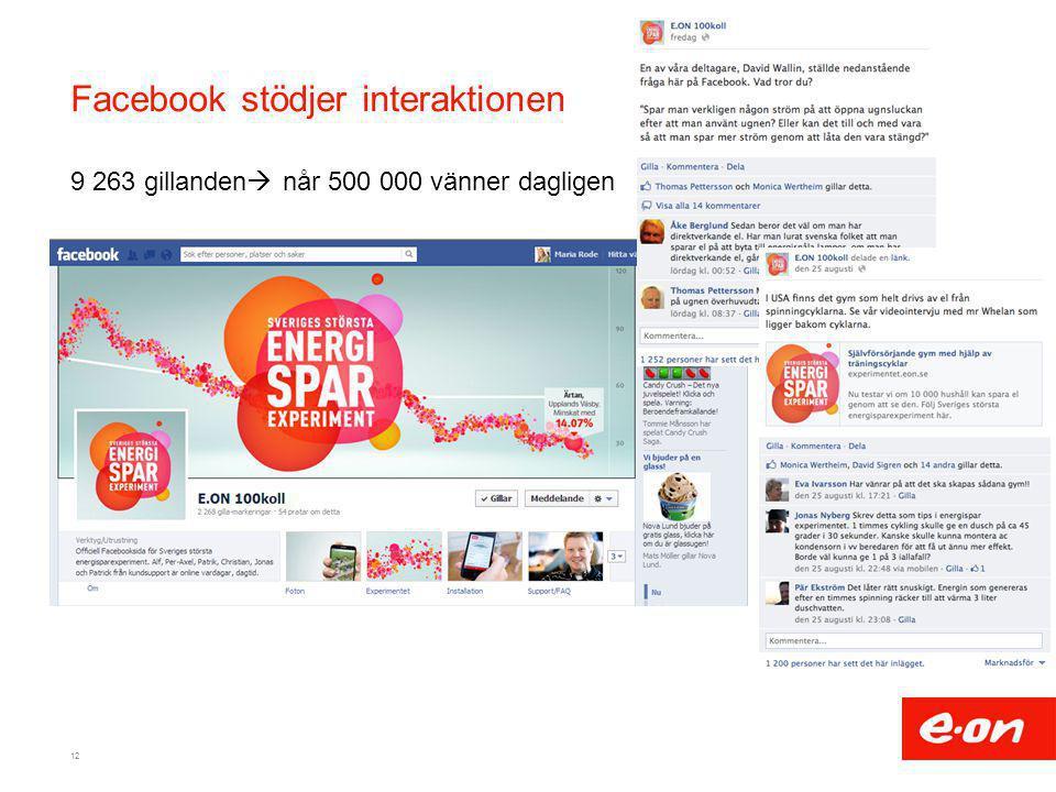 Facebook stödjer interaktionen 9 263 gillanden  når 500 000 vänner dagligen 12