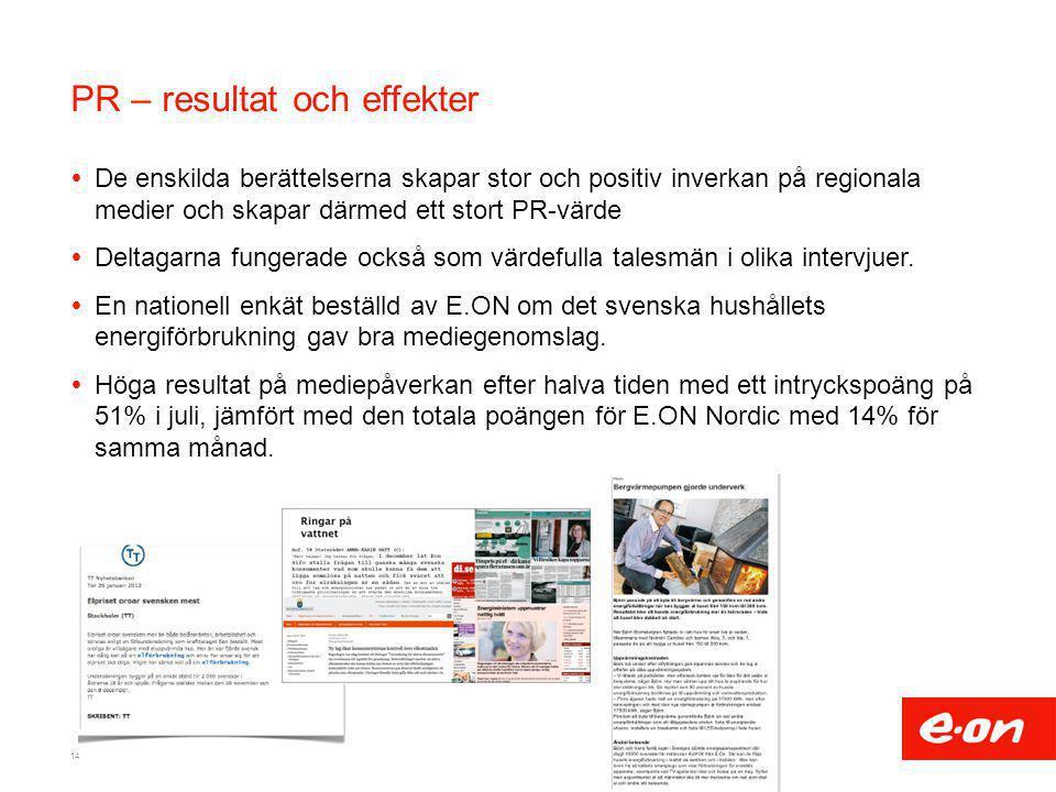 PR – resultat och effekter  De enskilda berättelserna skapar stor och positiv inverkan på regionala medier och skapar därmed ett stort PR-värde  Del