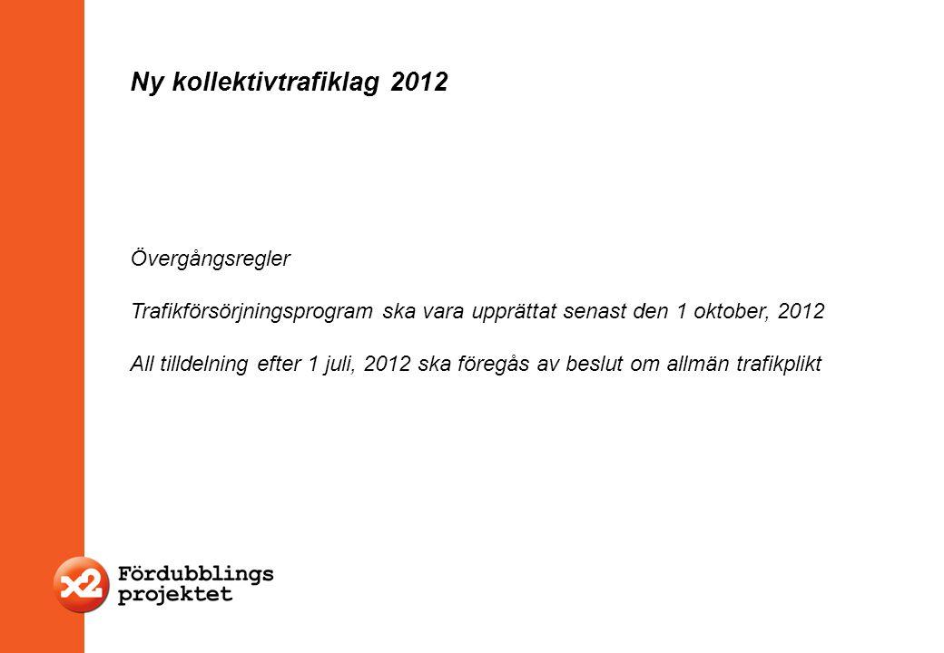Övergångsregler Trafikförsörjningsprogram ska vara upprättat senast den 1 oktober, 2012 All tilldelning efter 1 juli, 2012 ska föregås av beslut om al