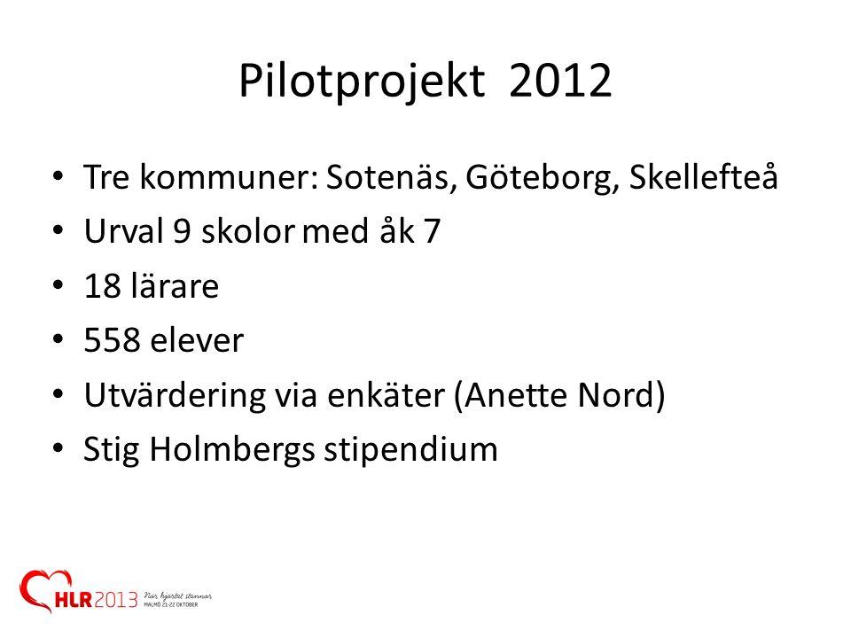 Pilotprojekt 2012 • Tre kommuner: Sotenäs, Göteborg, Skellefteå • Urval 9 skolor med åk 7 • 18 lärare • 558 elever • Utvärdering via enkäter (Anette N