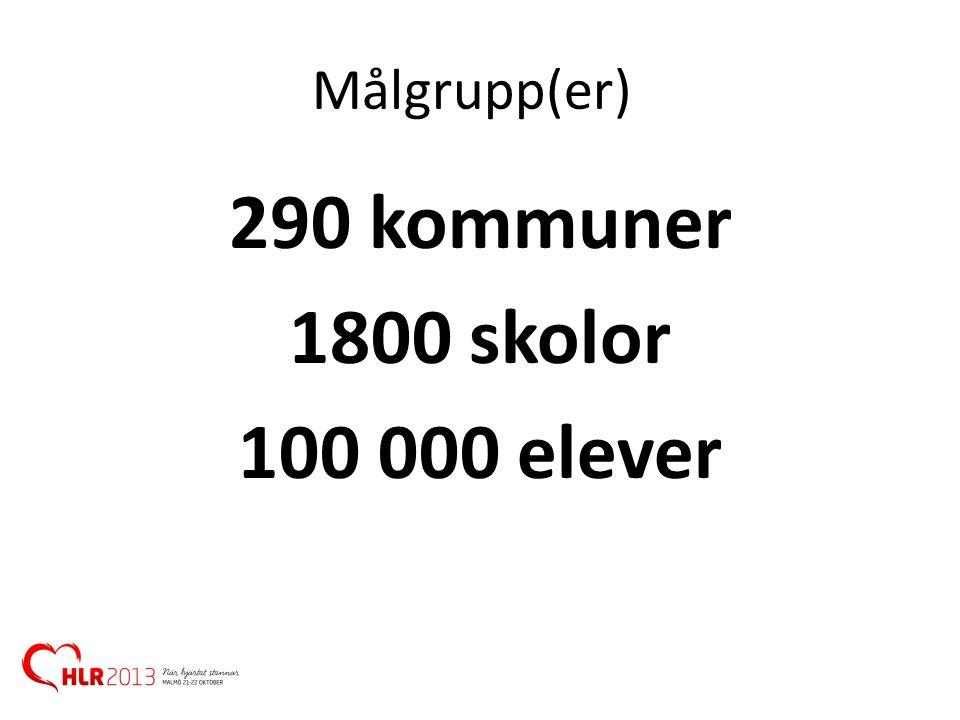 Målgrupp(er) 290 kommuner 1800 skolor 100 000 elever