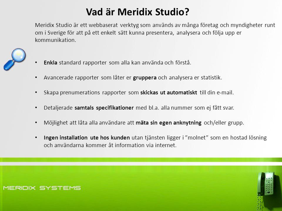 Meridix Studio är ett webbaserat verktyg som används av många företag och myndigheter runt om i Sverige för att på ett enkelt sätt kunna presentera, analysera och följa upp er kommunikation.