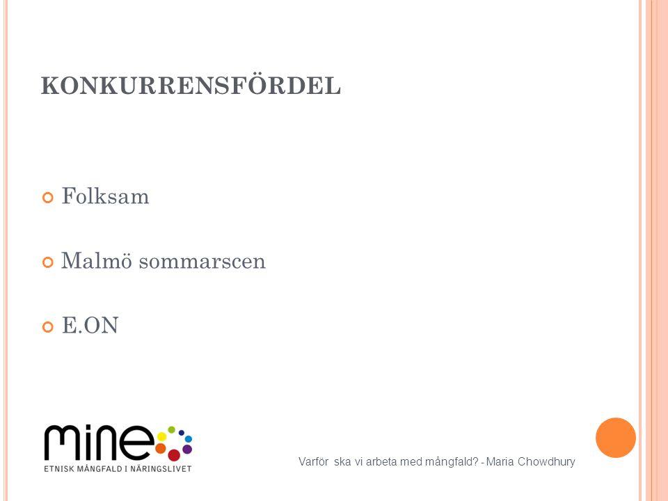 KONKURRENSFÖRDEL Folksam Malmö sommarscen E.ON Varför ska vi arbeta med mångfald? - Maria Chowdhury