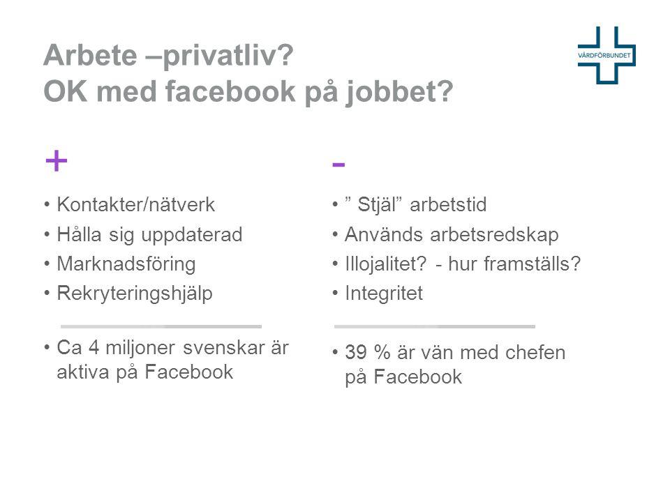 Arbete –privatliv.OK med facebook på jobbet.