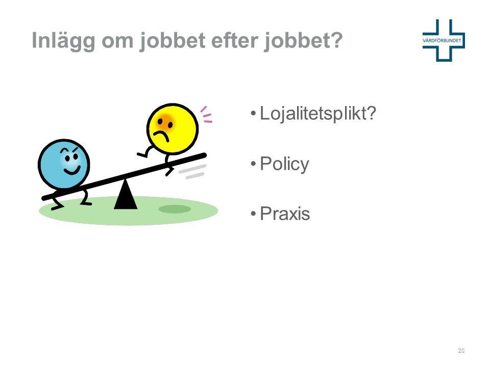 Inlägg om jobbet efter jobbet? •Lojalitetsplikt? •Policy •Praxis 20