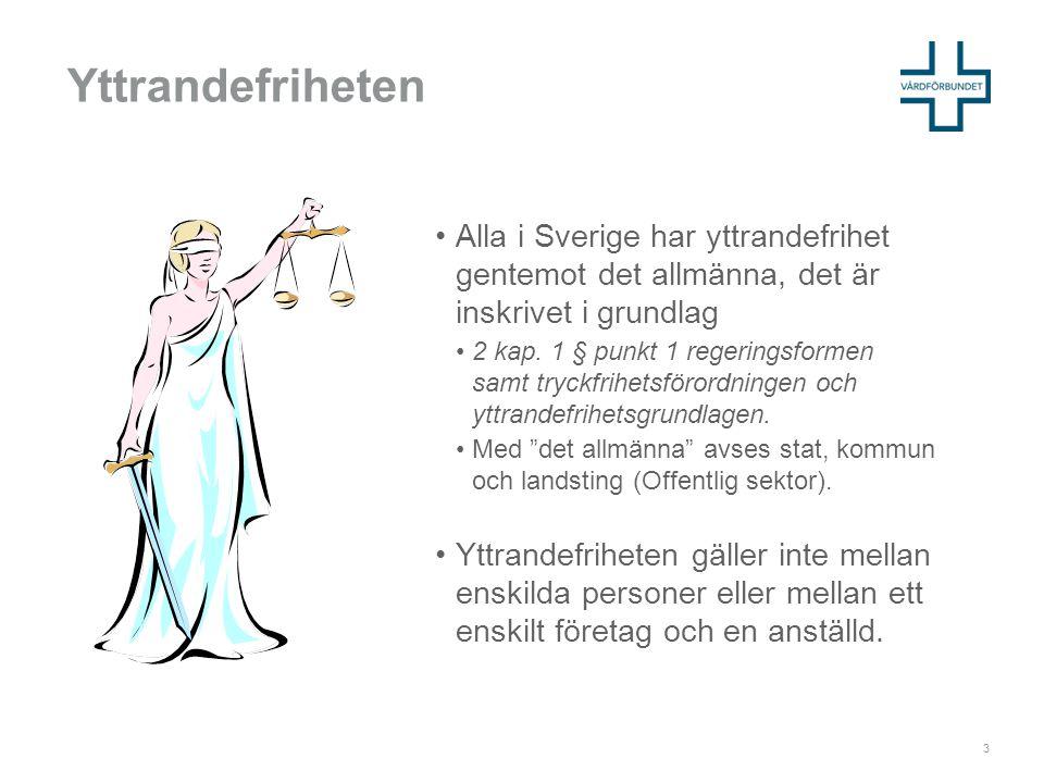 Yttrandefriheten •Alla i Sverige har yttrandefrihet gentemot det allmänna, det är inskrivet i grundlag •2 kap.
