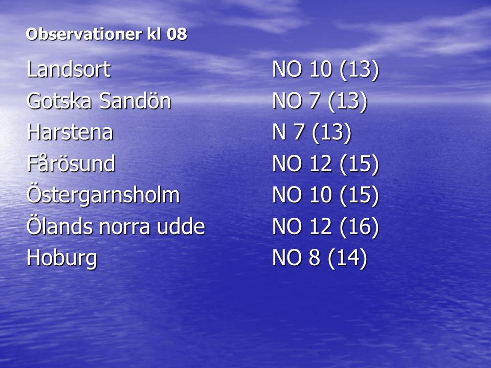 Observationer kl 08 LandsortNO 10 (13) Gotska SandönNO 7 (13) HarstenaN 7 (13) FårösundNO 12 (15) ÖstergarnsholmNO 10 (15) Ölands norra uddeNO 12 (16)