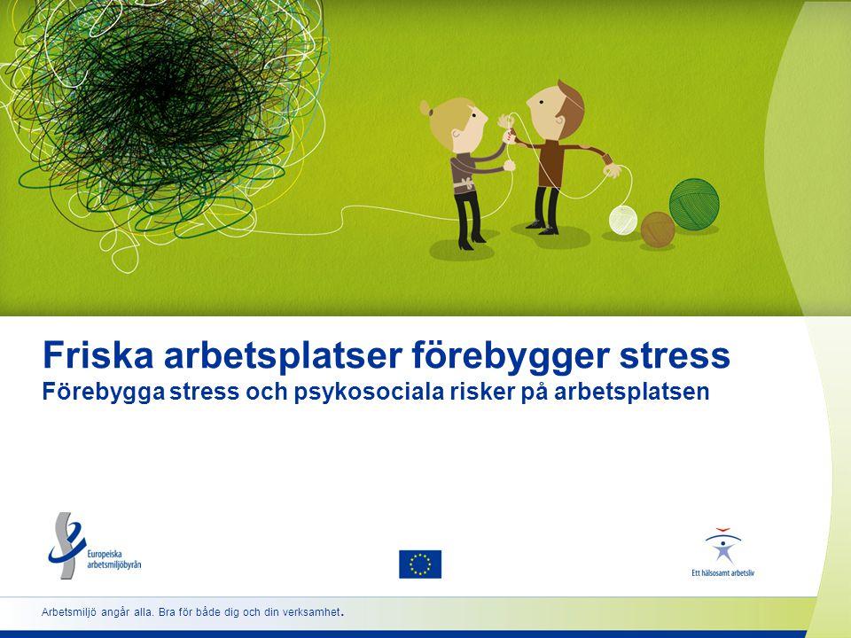2 www.healthy-workplaces.eu Introduktion till kampanjen  Samordnas av Europeiska arbetsmiljöbyrån (EU-Osha)  Organiseras i fler än 30 länder  Stöds av ett nätverk av partner •Nationella kontaktpunkter •Arbetsmarknadens parter •Officiella kampanjpartner •Mediepartner •Enterprise Europe Network (nätverket för företag i Europa) •EU-institutioner