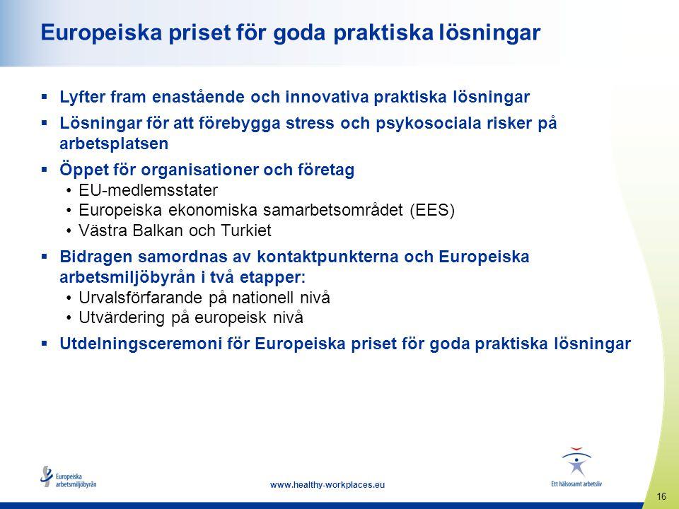 16 www.healthy-workplaces.eu Europeiska priset för goda praktiska lösningar  Lyfter fram enastående och innovativa praktiska lösningar  Lösningar fö