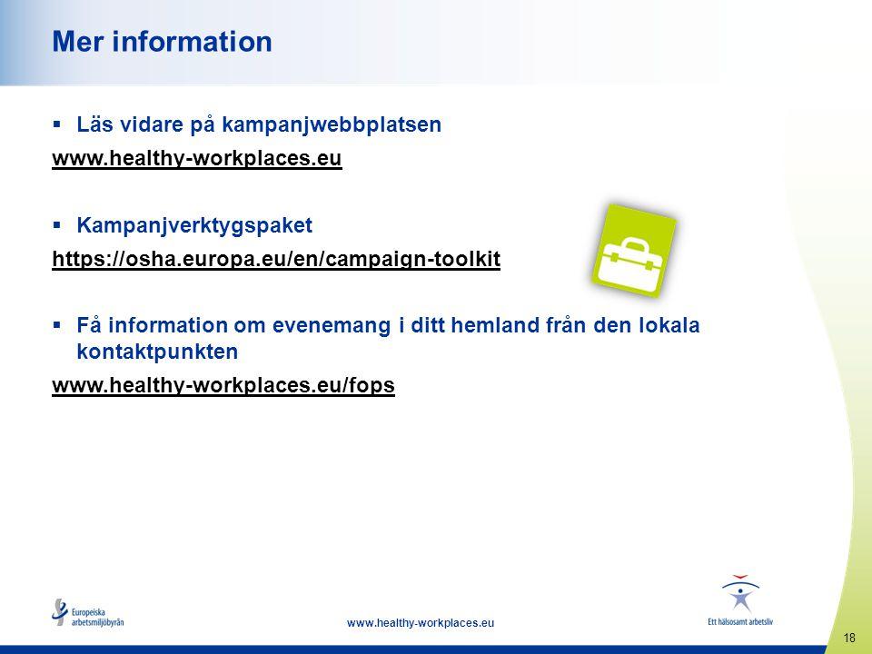 18 www.healthy-workplaces.eu Mer information  Läs vidare på kampanjwebbplatsen www.healthy-workplaces.eu  Kampanjverktygspaket https://osha.europa.e