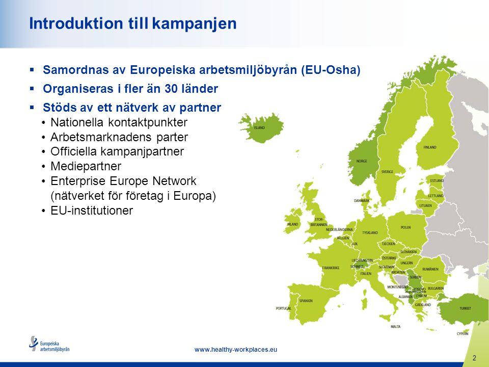 13 www.healthy-workplaces.eu Delta i kampanjen  Alla organisationer och enskilda personer kan delta.