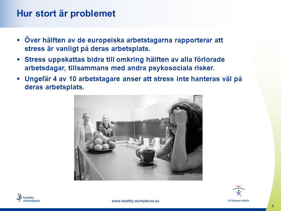 5 www.healthy-workplaces.eu Definitioner Psykosociala risker uppkommer av •dålig arbetsutformning, organisation och ledning, •ogynnsam social miljö på arbetsplatsen, •och kan få negativa psykiska, fysiska och sociala följder, inklusive arbetsrelaterad stress.