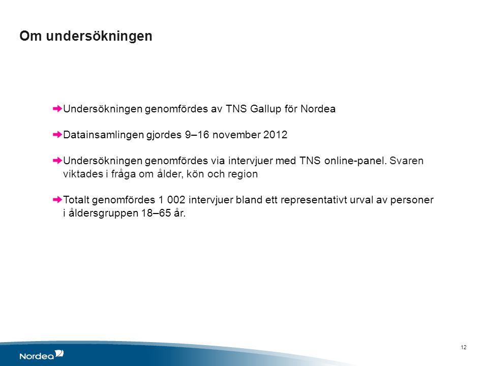 Om undersökningen 12 Undersökningen genomfördes av TNS Gallup för Nordea Datainsamlingen gjordes 9–16 november 2012 Undersökningen genomfördes via intervjuer med TNS online-panel.