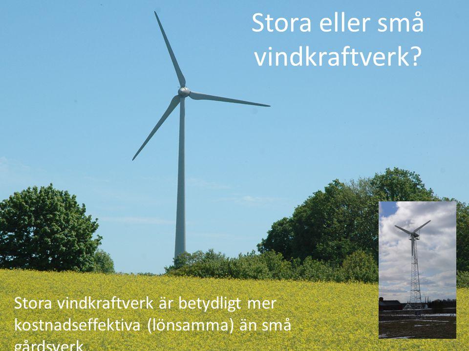 Stora eller små vindkraftverk? Stora vindkraftverk är betydligt mer kostnadseffektiva (lönsamma) än små gårdsverk